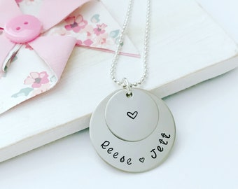 Name necklace, stacked disc necklace, custom stamped