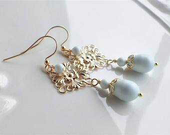 Light Blue Pearl Earrings, Gold Filigree Earrings, Pastel Blue Chandelier Earrings, Light Blue Pearl Wedding Earrings, Blue Dangle Earrings
