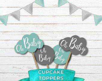 Cupcake Toppers - Cloud Toppers - Blue Cupcake Toppers - Oh Baby Toppers - Baby Shower Decor - Digital Download - Cloudy Oh Baby