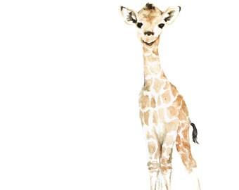 Giraffe Art Print - Safari Animal Painting - Baby Giraffe Painting - Safari Animal Watercolor - Baby Animal Painting - Baby Room