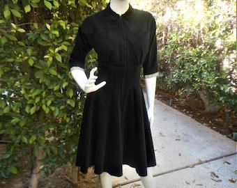 Vintage 1950's Doris Dodson Black Corduroy Dress - Size Small