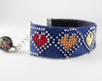 Hand Embroidered Cuff Bracelet - Rainbow Hearts