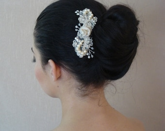Vintage Inspired Silk & Lace Bridal Hair Comb Adorned with Ivory Swarovski Pearls Available in Champagne, Ivory, or White - Ships in 1 week