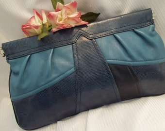 MINT Beautiful Blue Color Block Faux Snake Embossed Leather Clutch - Womens - Vintage - Mad Men