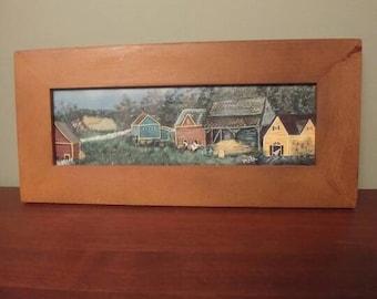 Vintage Folk Art in Frame Quebec