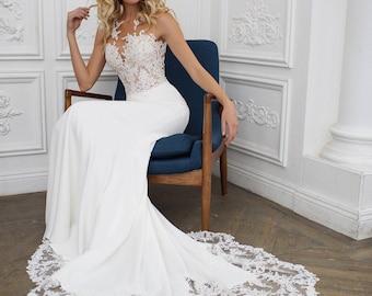 "Mermaid wedding dress  illusion back,  wedding dress ""Kalipso"""