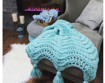 Crochet blanket kit - Yarn and Pattern Kit for Crochet Blanket - calming waves tassel throw by MJs Off The Hook