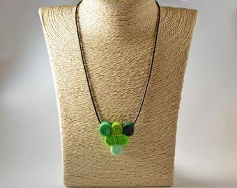 Felt necklace pendant handmade green triangle spirals
