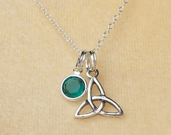 Triquetra Celtic Necklace Sterling Silver Swarovski Crystal Charm Pendant Cable Chain