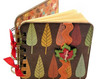 Leaf It to Your Imagination Mini Blank Book, doodle - sketch - collage - gold - green - orange