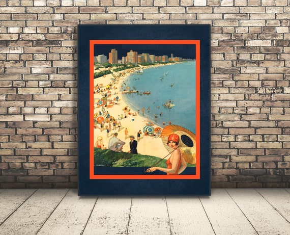 High Resolution Poster from a Vintage Travel Ad of Chicago, Illinois ...