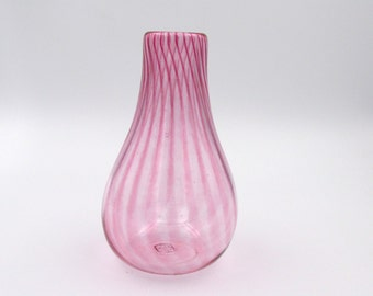 Pink Glass Vase, Fuschia Vase, White Vase With Pink Stripes,  Red Vase, Small Flower Vase, Bottle Vase, Bud Vase