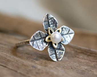 Two-tone ring, pearl ring, Sterling Silver Leaves Ring, yellow gold silver ring, floral ring, engagement ring - Tip of the iceberg R1692G