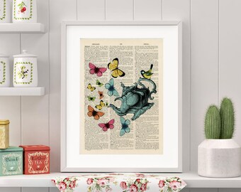 Butterfly Teapot - Antique Dictionary Page Art Print, Kitchen Art, Upcycled Vintage Book Page Art, Wall Art, Art Poster