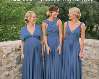 Steel Blue Bridesmaid Dress, infinity dress, Multiway Dress, Convertible dress, Multi Wrap dresses