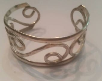 Mexican Sterling Silver Cuff Scroll 26 grams