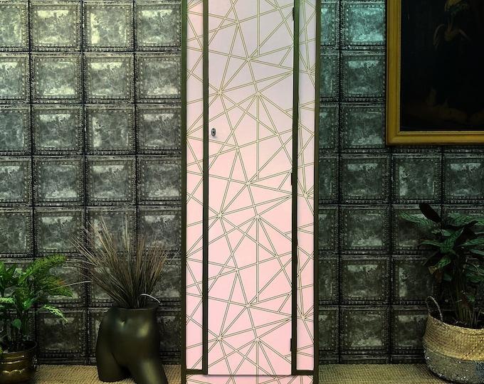 In aid of British Heart Foundation single wardrobe pink geometric gold leaf inside