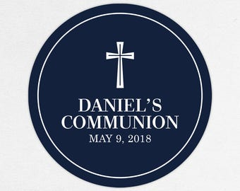 First Communion Favor Labels, First Communion Stickers, Printed Communion Tag, First Holy Communion Favor Tag, Boy Communion, Daniel, Navy