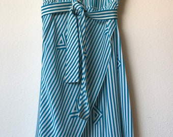 Vintage Maggy London by Jeannene Booher Silk Dress, Large Blouson Turquoise Stripe 80s- Beautiful!