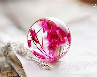 Real flower necklace Terrarium necklace Woodland necklace Real plant necklace Glass globe necklace Dried flower jewelry Nature lover gift