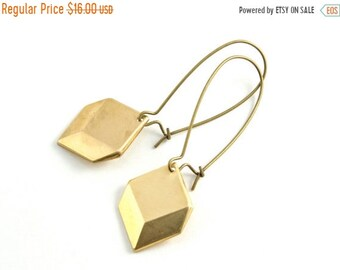 25%OFFSALE Gold Geometric Earrings, Pyramid Dangle Earrings, Modern Drop Earrings, Long Earring, Gifts under 20