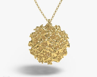 science jewelry: brass west nile virus necklace - viral pendant - wearable virus - microbiology - Flavivirus