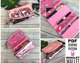 WINSLET WALLET - PDF Sewing Pattern - by Hold it Right There - Tri-fold Wallet with 16 Cards Slots and Zippered Flap