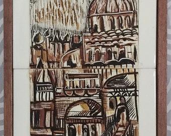Robert Raizman Original 1974 Tile Art - An Ein-Reb Art Piece