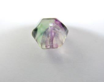 5 button beads faceted Hexagon 12 natural Rainbow fluorite x 8 mm. (8208059)