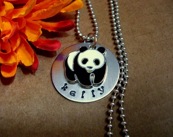 Personalized Enamel Panda Bear Charm Necklace, Panda Bear Jewelry, Animal Jewelry
