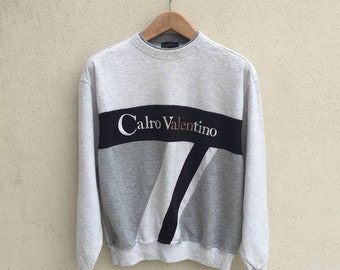 Vintage Calro Valentino Embroidered Spell Out Logo Sweatshirt