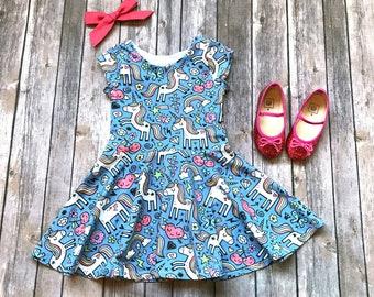 Unicorn Dress - Blue Unicorn Dress - Baby Dress - Toddler Dress - Girls Dress - Twirl Dress - Unicorn Dress Girls - Unicorn Party
