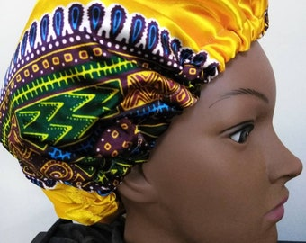 Yellow Gold African Satin Bonnet, Dashiki Satin hair bonnet/ African satin hats, satin sleep caps