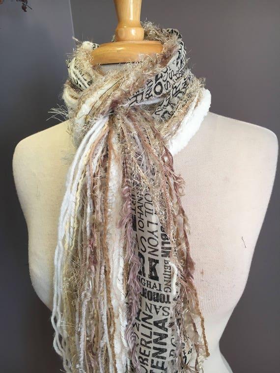 Fringe art scarf, Traveler, cream ivory black scarf, city print, Handmade Boho Scarf, travel gift, newsprint scarf, fur scarf, winter white