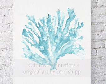 Sea Coral Print in French Blue 8x10 - Sea Life Art Print - Coral Art Print - Watercolor Art Print - Giclee Print - Beach House Decor