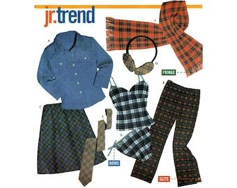 Teen Girls Shirt, Pants, Camisole, Panties, Bias Skirt Sewing Pattern Juniors Size 3/4, 5/6, 7/8, 9/10 Uncut Simplicity 9841