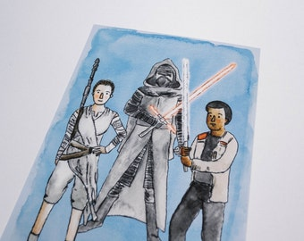Force Awakens Rey, Kylo, & Finn Star Wars Watercolor Print