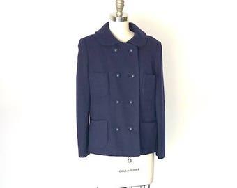1960's Joseph Magnin for DeVon Hail Wool Pea Jacket in Blue Violet l M