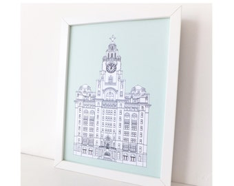 Liver Building, A3 picture, Liverpool, Liverpool drawing, art print, home decor, Liverpool Print, large print