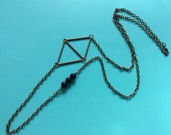 Long Geometric Necklace - Rhombus Necklace - Matte agate