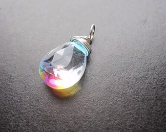 RAINBOW MYSTIC QUARTZ Wire Wrapped Gemstone Drop Charm Pendant Interchangeable Jewelry