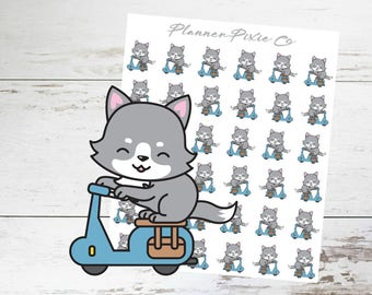Wolf Planner Stickers // MoPed // Transportation // 005