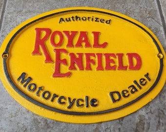 ROYAL ENFIELD Superb Heavy Cast Iron Sign Authorised Motorcycle Dealer Advertising Sign