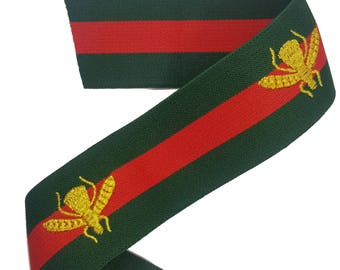 Green Red Striped Gucci Style Rubber Elastic Trim with Embroidered Bees, DIY Fashion Elastic Trim