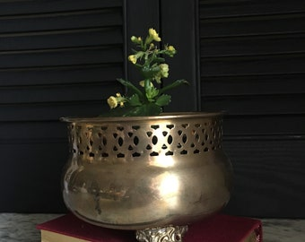 Brass Footed Planter with Pierced Design