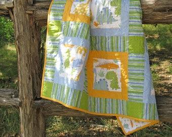 Dinosaur Quilt. Gender Neutral Nursery Bedding. Baby Toddler Nap Lap Quilt. Cotton Car Seat Blanket. David Walker Oh Boy. Green Blue Gold
