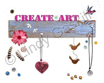SALE - Clip Art, Create Art, Dance in the Rain, DIY Prints with Birds, Hummingbird, Feathers, Trinkets, Heart, Digital Download Art by Lindy