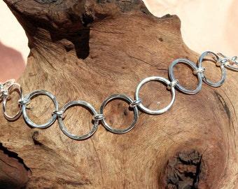 Textured Hoop Sterling Silver Bracelet