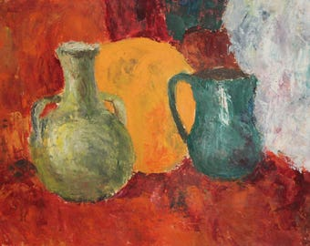 Still life with jug and pitcher vintage oil painting