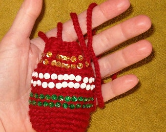 Bohemian Goddess Totem Pouch Medicine Bag Stash Talisman Jewelry Potpourri Sachet-Blood Red, Beaded Gold White Green Sequins-Drawstring Cord